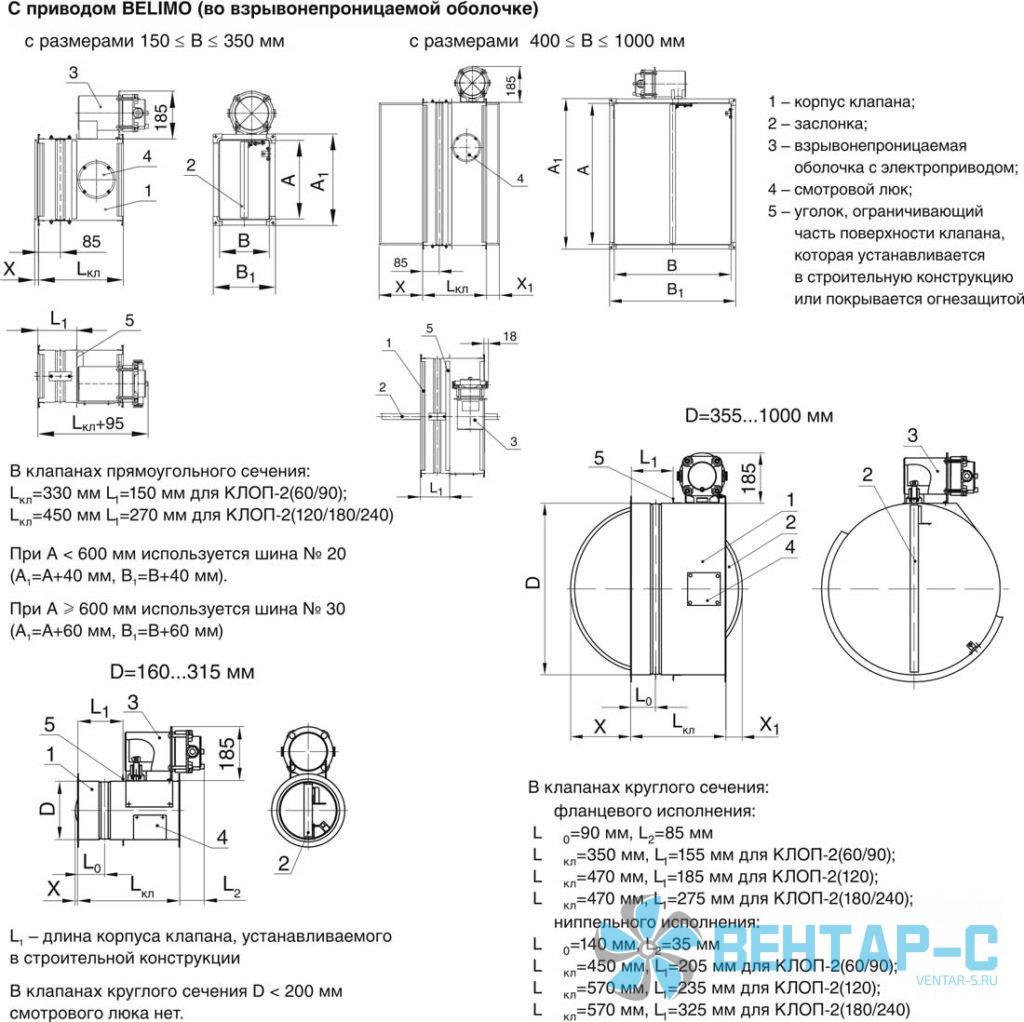 Схемы конструкции КЛОП-2 взрывобезопасного исполнения