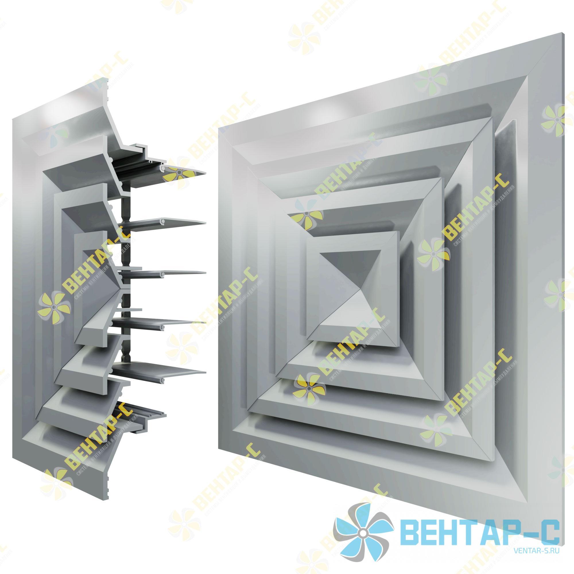 Потолочная вентиляционная решетка 4РПБ с блоком регулировки воздуха