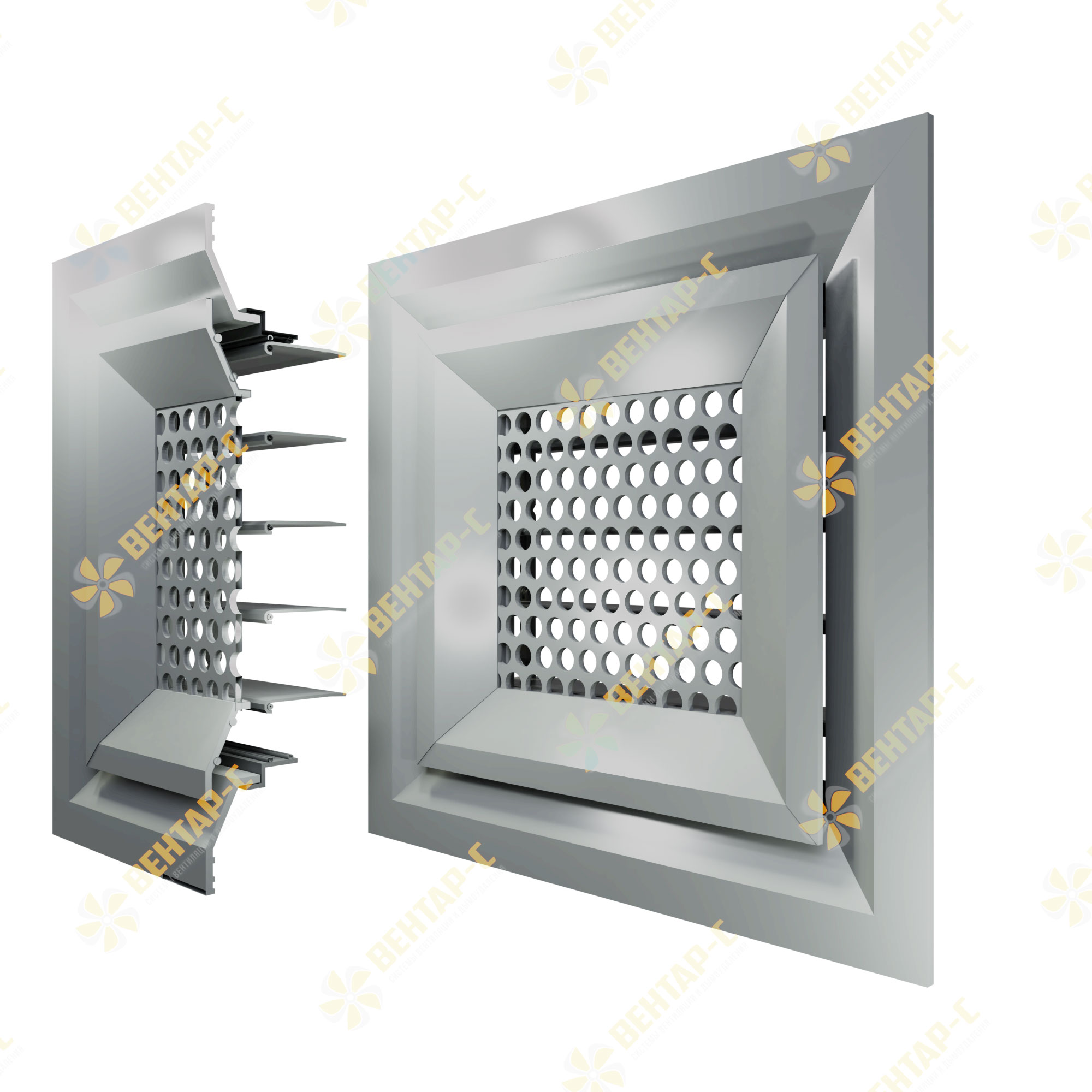 Потолочная перфорированная вентиляционная решетка 4ВРПБ с блоком регулировки воздуха