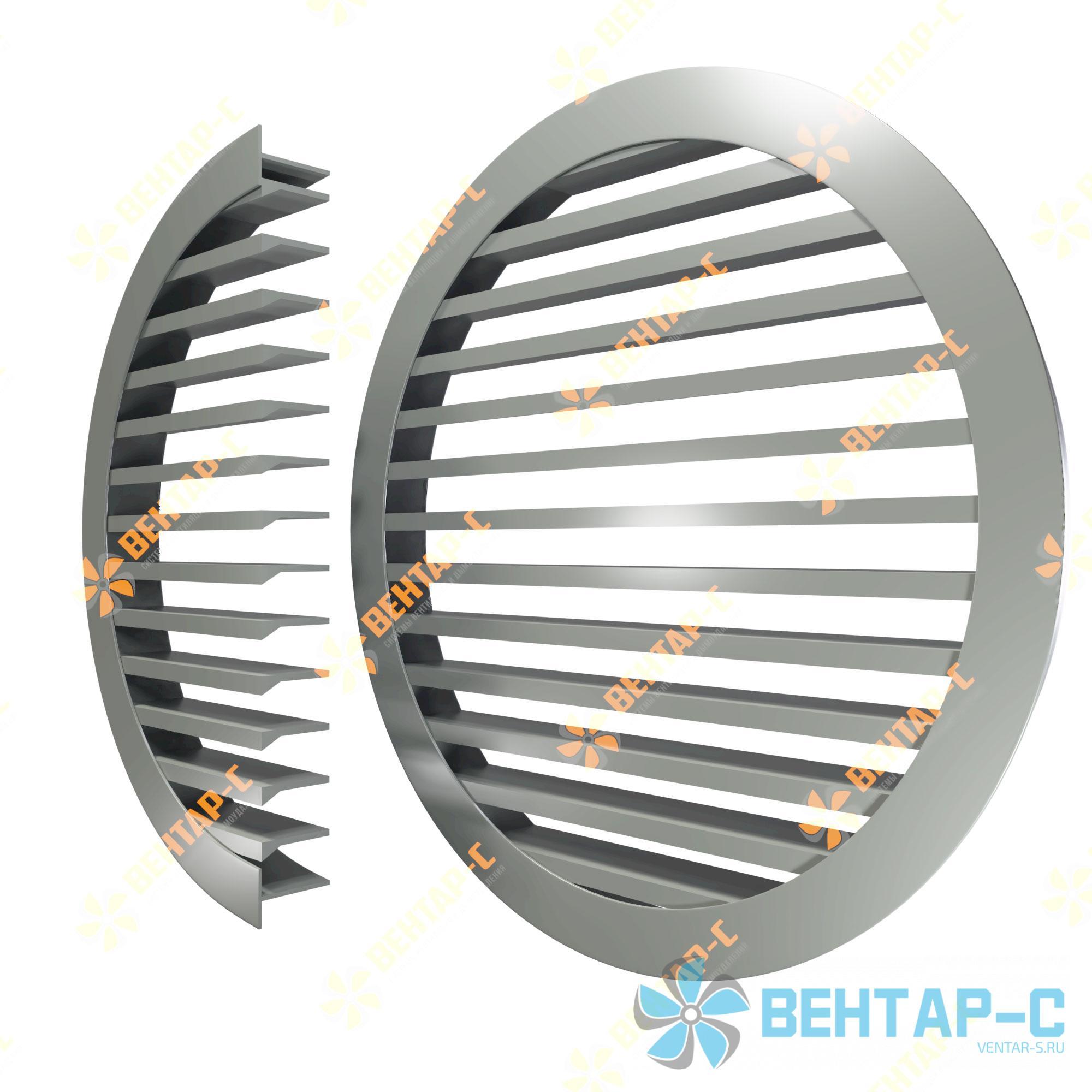Настенная нерегулируемая круглая вентиляционная решетка ННРК – жалюзи прямо