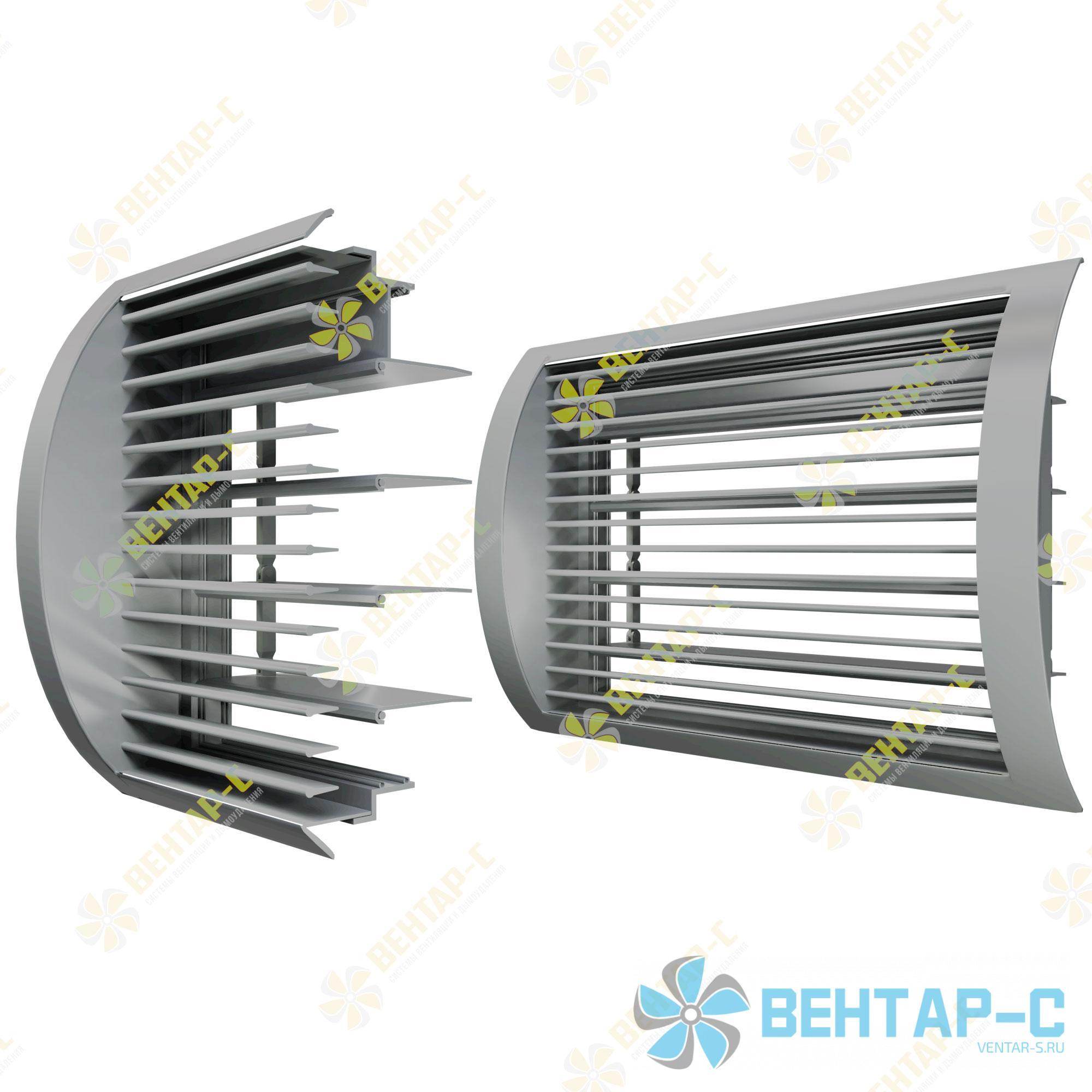 Цилиндрическая однорядная регулируемая вентиляционная решетка ОГРЦБ с блоком регулировки воздуха