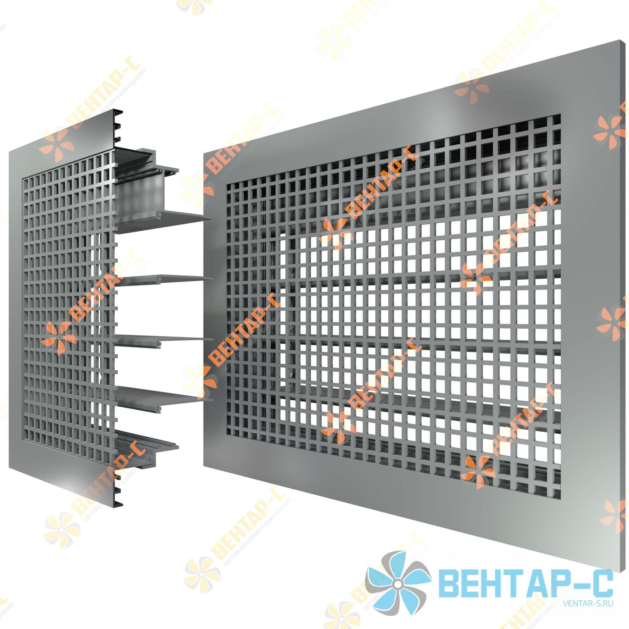 Потолочная ячеистая вентиляционная решетка 4ЯРАБ с блоком регулировки воздуха